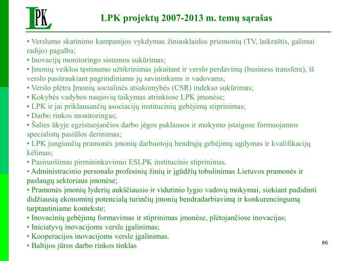 LPK projektų 2007-2013 m. temų sąrašas