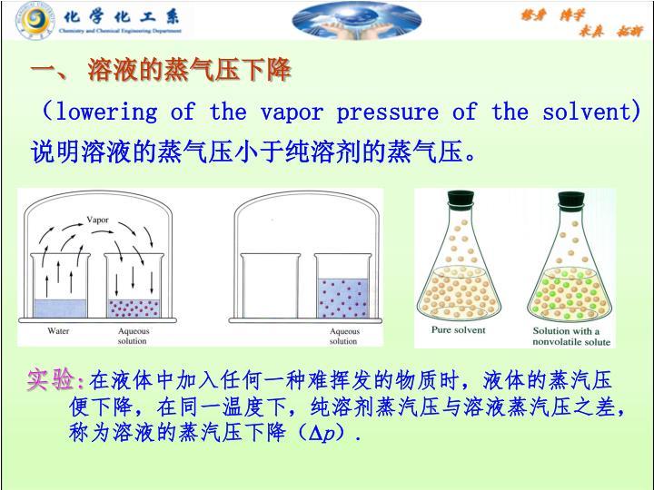 一、 溶液的蒸气压下降