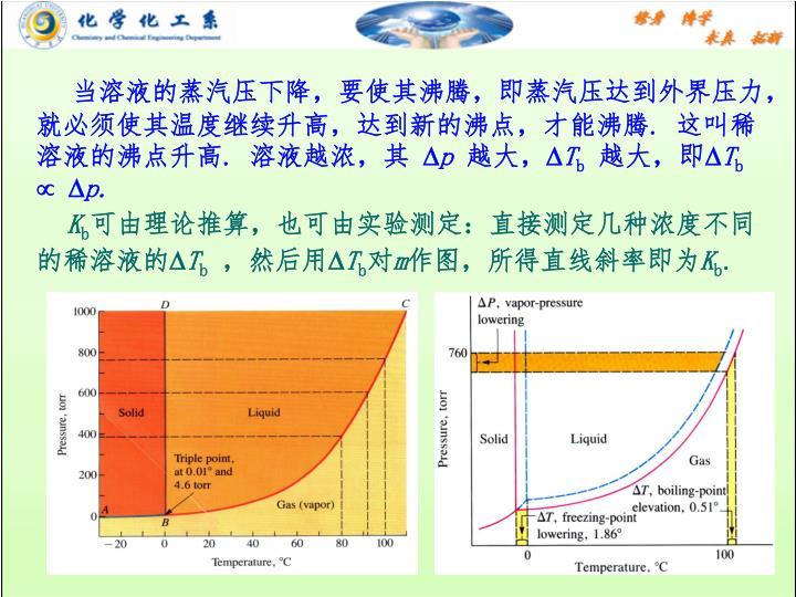 当溶液的蒸汽压下降,要使其沸腾,即蒸汽压达到外界压力,就必须使其温度继续升高,达到新的沸点,才能沸腾
