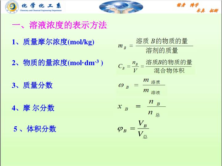 一、溶液浓度的表示方法