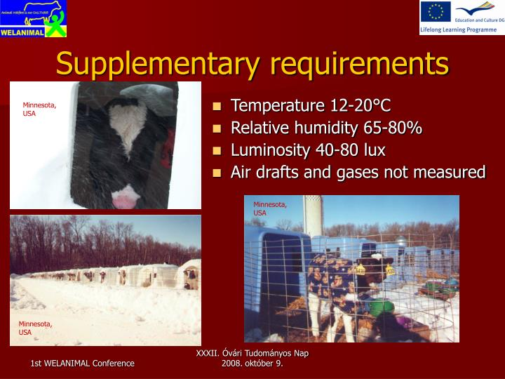 Supplementary requirements