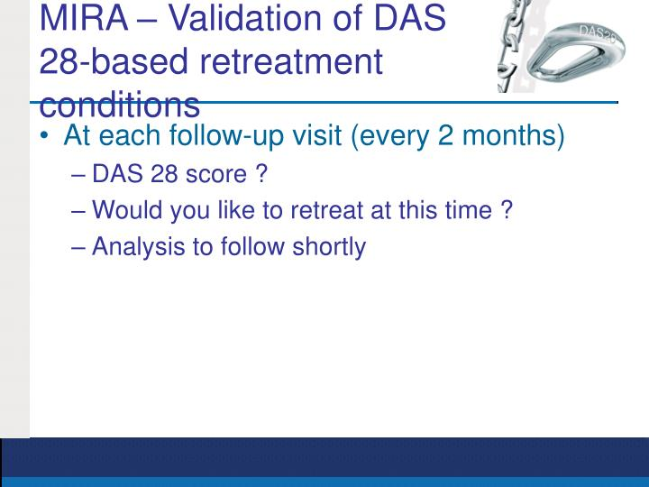 MIRA – Validation of DAS 28-based retreatment conditions