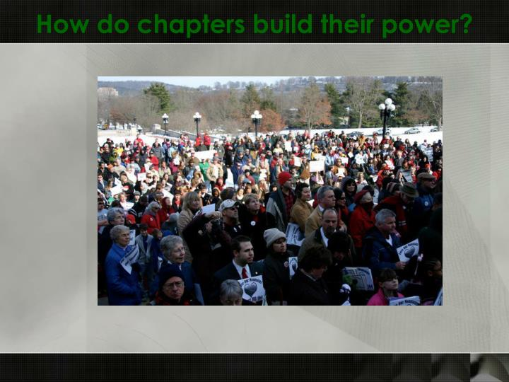 How do chapters build their power?