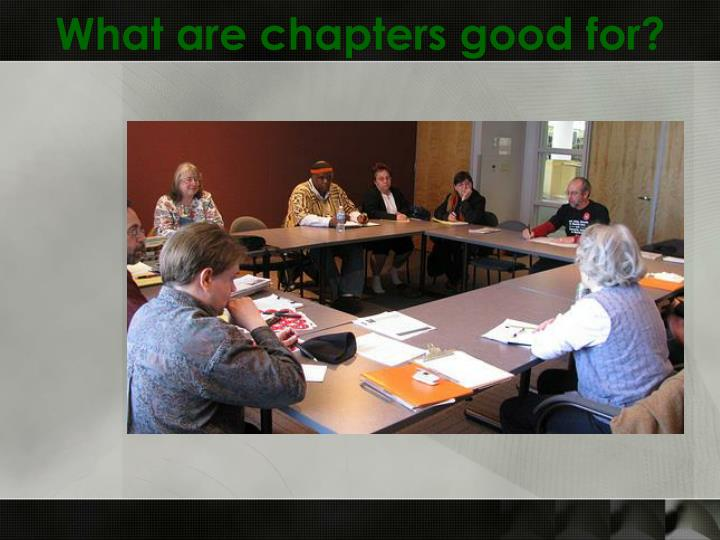 What are chapters good for?