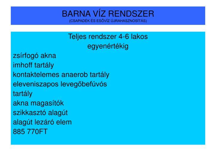 BARNA VÍZ RENDSZER
