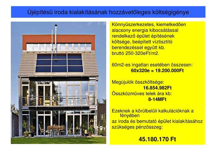 Újépítésű iroda kialakításának hozzávetőleges költségigénye