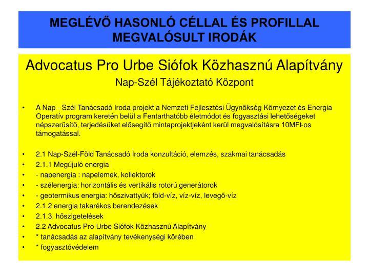 MEGLÉVŐ HASONLÓ CÉLLAL ÉS PROFILLAL MEGVALÓSULT IRODÁK