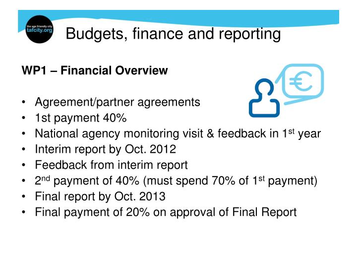 Budgets, finance and reporting