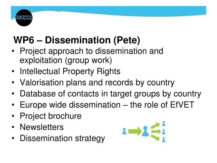 WP6 – Dissemination (Pete)