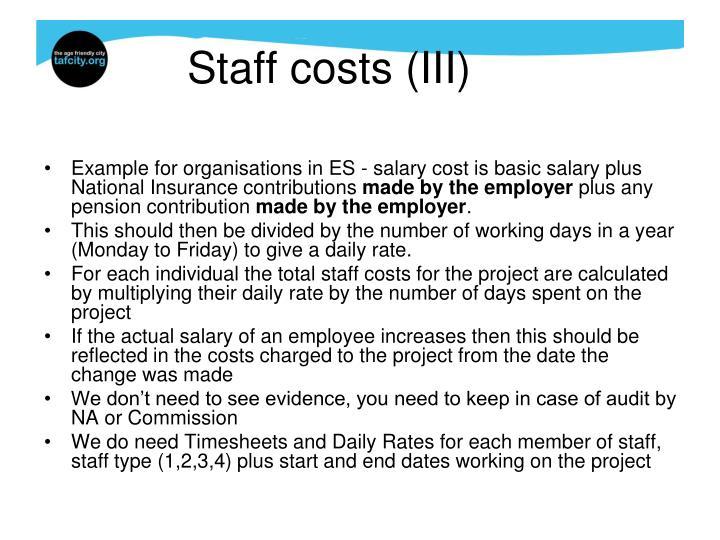 Staff costs (III)