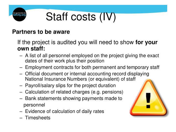 Staff costs (IV)