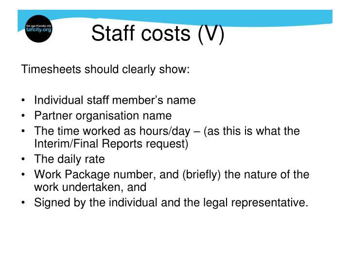 Staff costs (V)