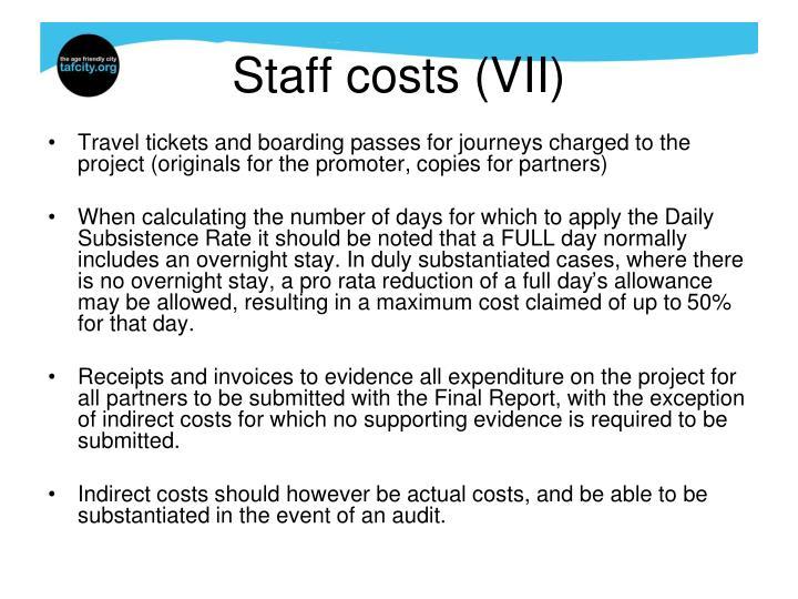 Staff costs (VII)