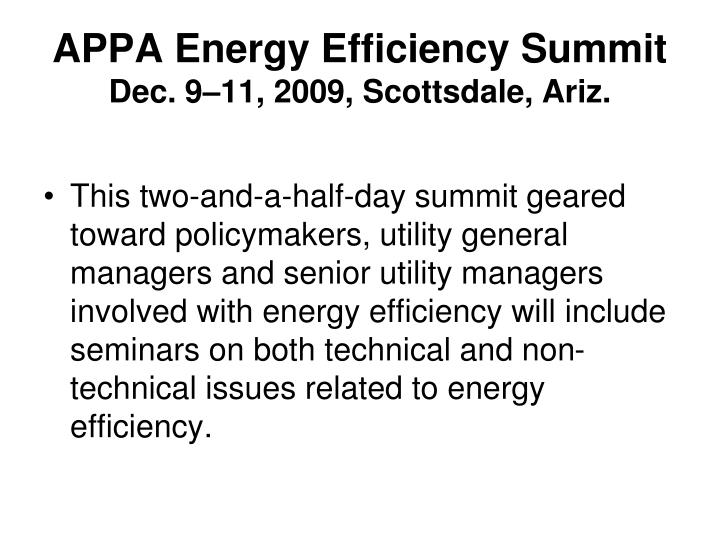 APPA Energy Efficiency Summit