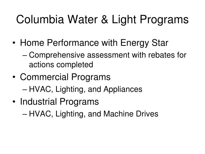 Columbia Water & Light Programs