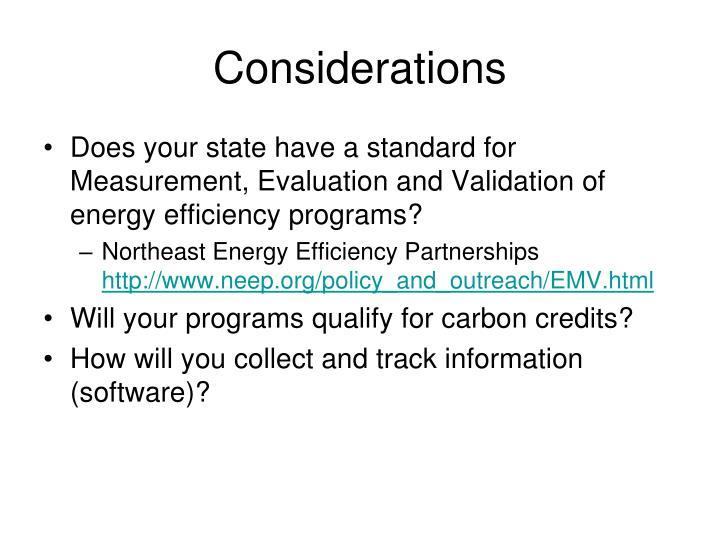Considerations