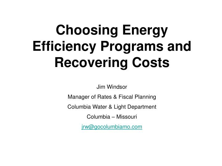 Choosing Energy Efficiency Programs and Recovering Costs