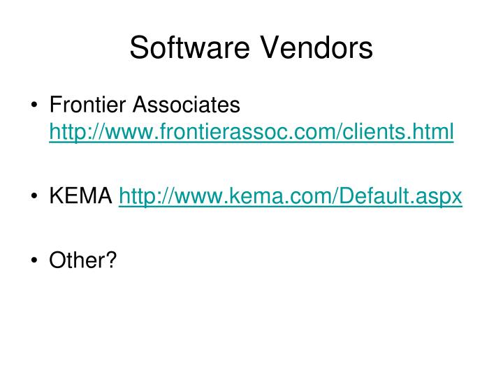 Software Vendors