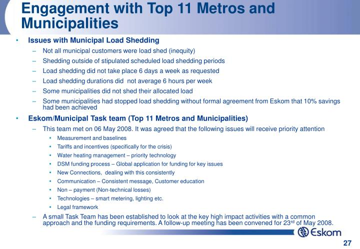 Engagement with Top 11 Metros and Municipalities