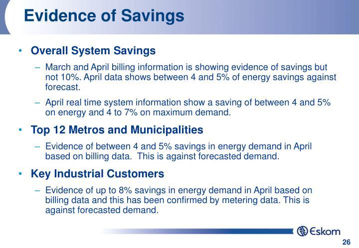 Evidence of Savings