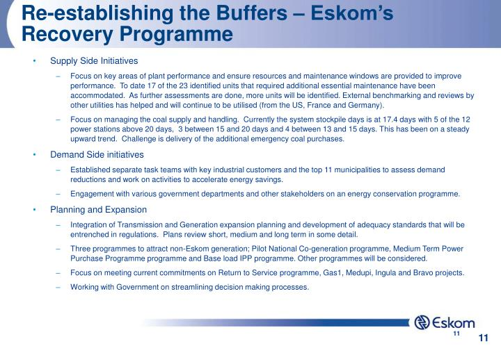 Re-establishing the Buffers – Eskom's Recovery Programme