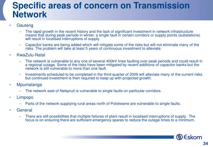 Specific areas of concern on Transmission Network