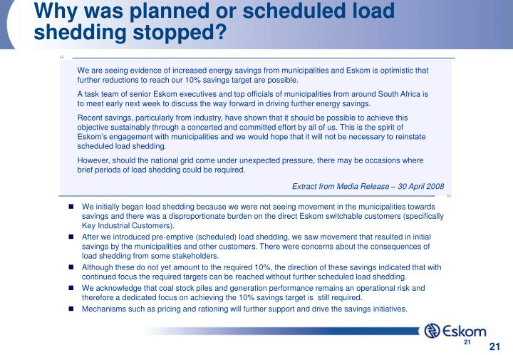 Why was planned or scheduled load shedding stopped?