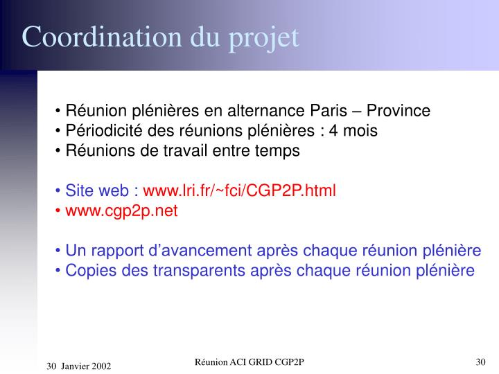 Coordination du projet