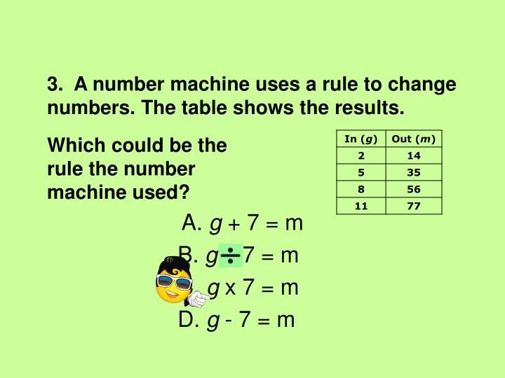 3.  A number machine uses a rule to change numbers. The table shows the results.