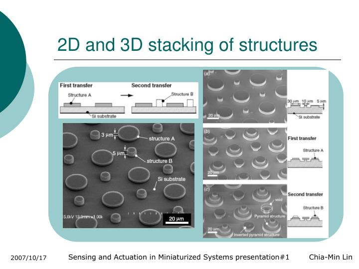 2D and 3D stacking of structures