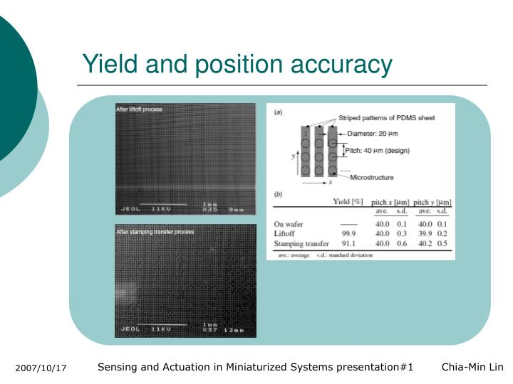 Yield and position accuracy
