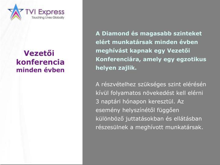 A Diamond és magasabb szinteket elért munkatársak minden évben meghívást kapnak egy Vezetői Konferenciára, amely egy egzotikus helyen zajlik.