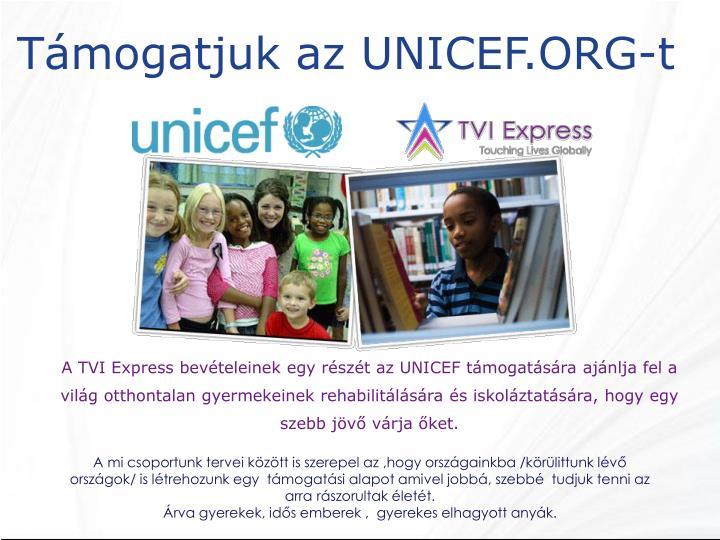 Támogatjuk az UNICEF.ORG-t