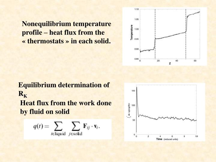 Nonequilibrium temperature profile – heat flux from the « thermostats » in each solid.
