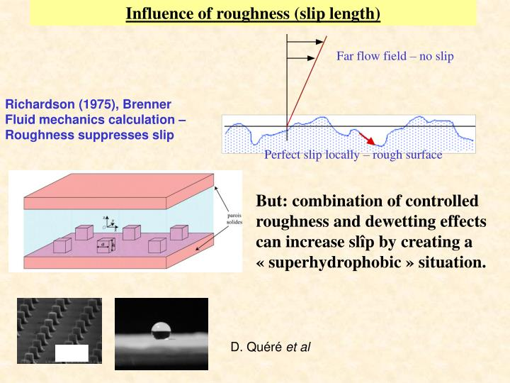 Influence of roughness (slip length)