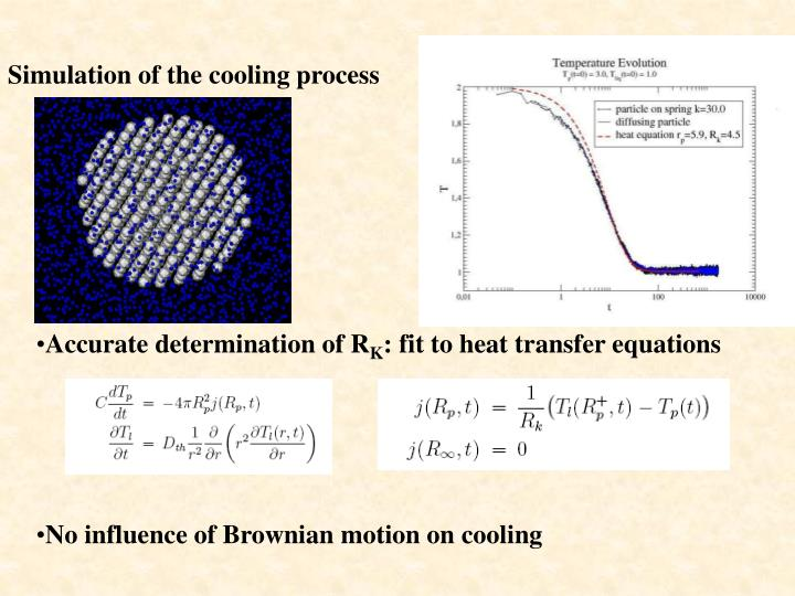 Simulation of the cooling process
