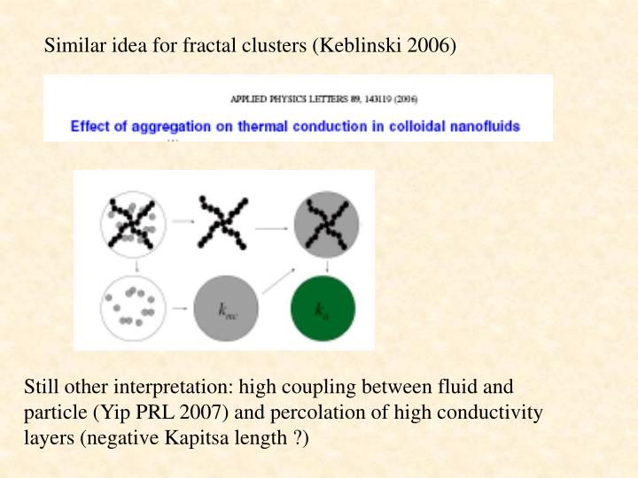 Similar idea for fractal clusters (Keblinski 2006)