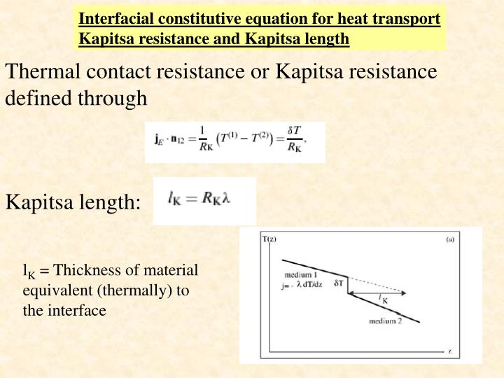 Interfacial constitutive equation for heat transport