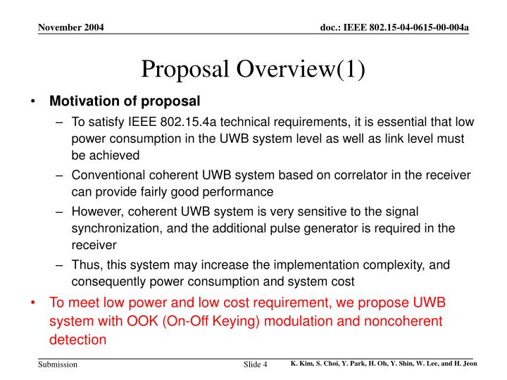 Proposal Overview(1)