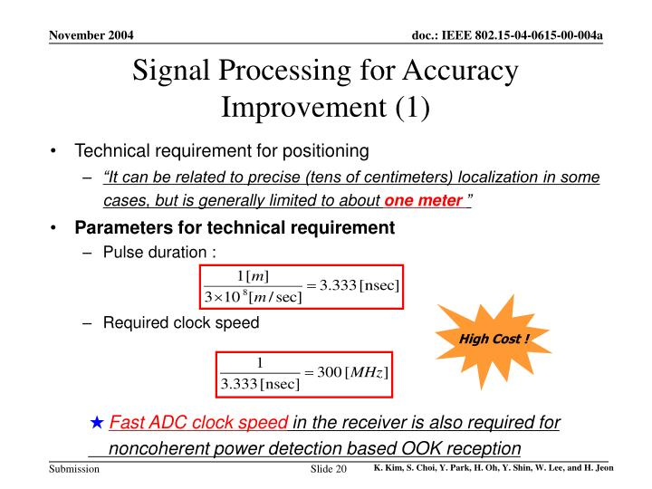 Signal Processing for Accuracy Improvement (1)