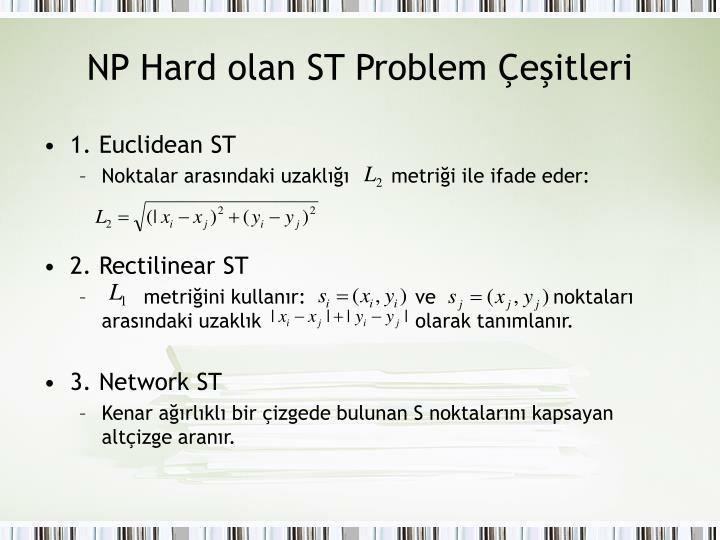 NP Hard olan ST Problem Çeşitleri