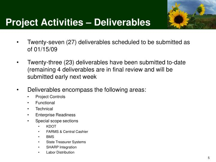 Project Activities – Deliverables