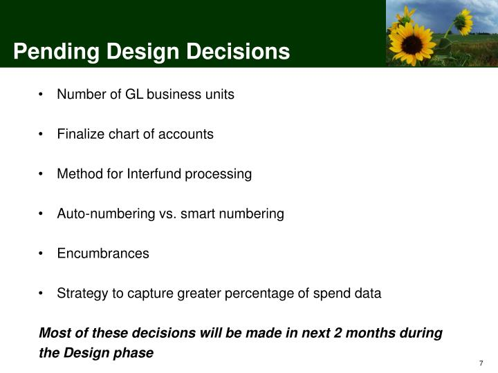 Pending Design Decisions