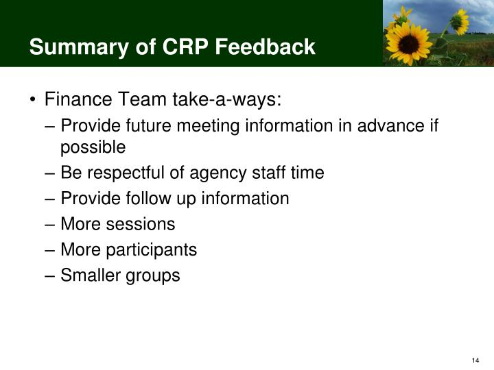 Summary of CRP Feedback