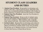 student class leaders and duties