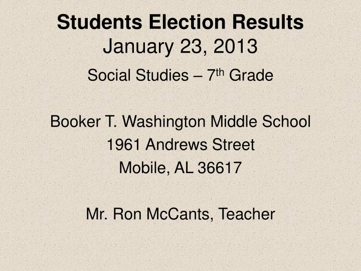 Students election results january 23 2013