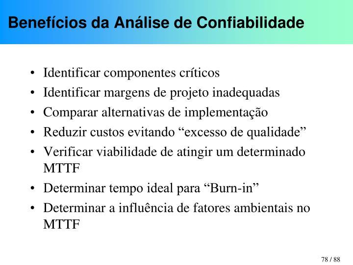 Benefícios da Análise de Confiabilidade