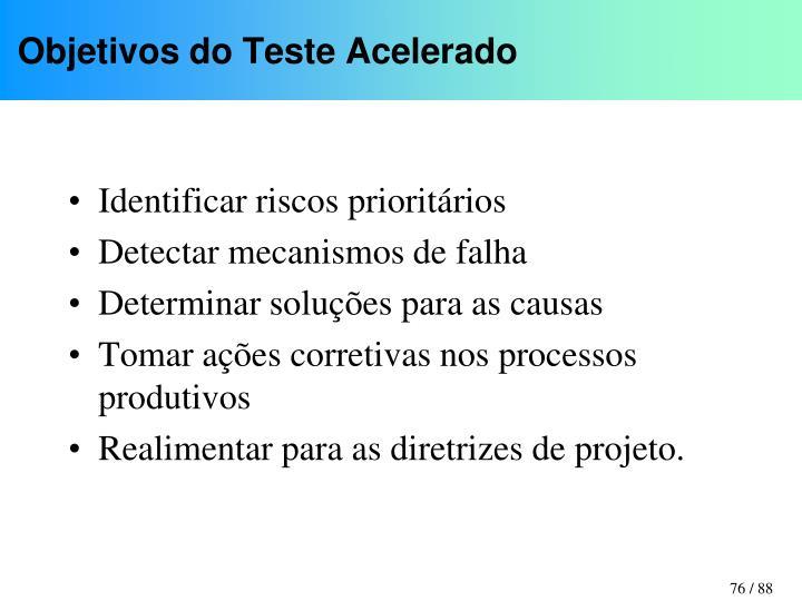 Objetivos do Teste Acelerado