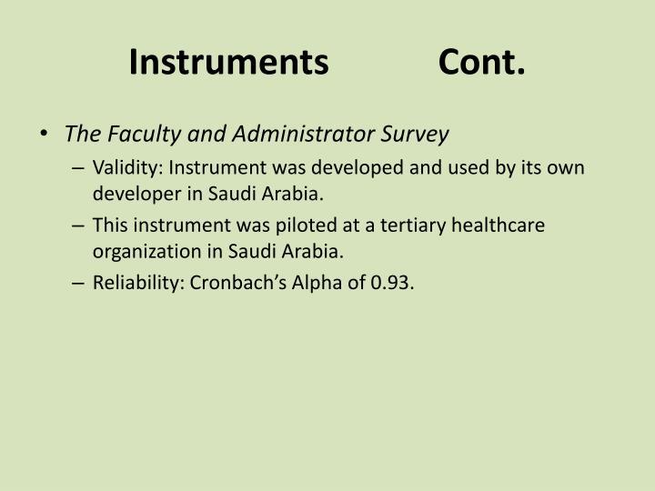 Instruments            Cont.