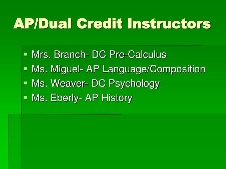 AP/Dual Credit Instructors